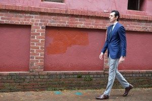 Allen Edmonds shoe with brick wall