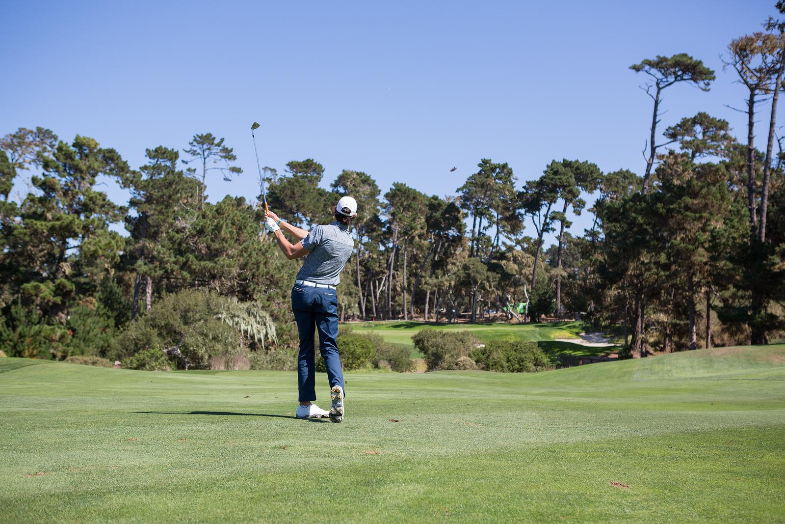 Tree lined golf hole