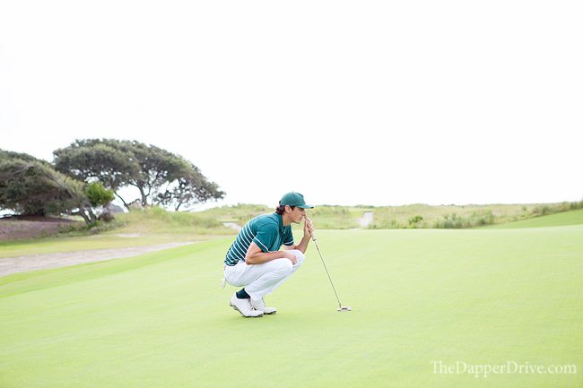 Reading a putt at The Ocean Course